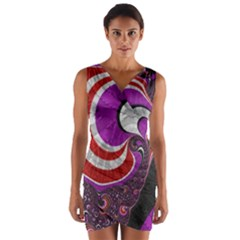 Fractal Art Red Design Pattern Wrap Front Bodycon Dress
