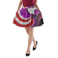 Fractal Art Red Design Pattern A-Line Pocket Skirt