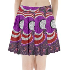 Fractal Art Red Design Pattern Pleated Mini Skirt