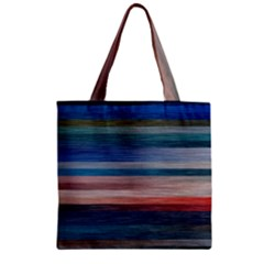 Background Horizontal Lines Zipper Grocery Tote Bag