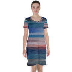 Background Horizontal Lines Short Sleeve Nightdress