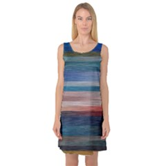 Background Horizontal Lines Sleeveless Satin Nightdress