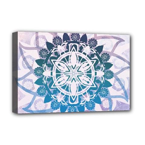 Mandalas Symmetry Meditation Round Deluxe Canvas 18  x 12