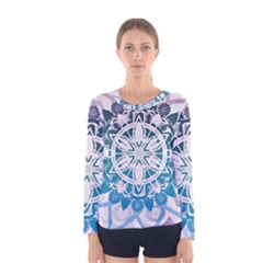 Mandalas Symmetry Meditation Round Women s Long Sleeve Tee