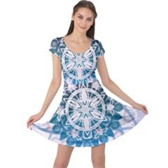 Mandalas Symmetry Meditation Round Cap Sleeve Dresses