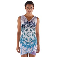 Mandalas Symmetry Meditation Round Wrap Front Bodycon Dress