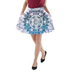 Mandalas Symmetry Meditation Round A-Line Pocket Skirt