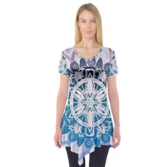 Mandalas Symmetry Meditation Round Short Sleeve Tunic
