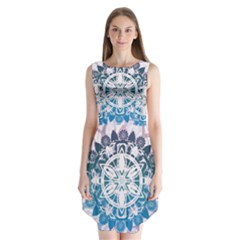 Mandalas Symmetry Meditation Round Sleeveless Chiffon Dress