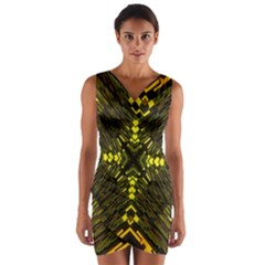 Abstract Glow Kaleidoscopic Light Wrap Front Bodycon Dress
