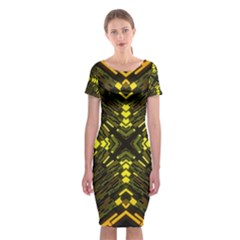 Abstract Glow Kaleidoscopic Light Classic Short Sleeve Midi Dress