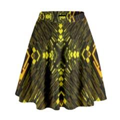 Abstract Glow Kaleidoscopic Light High Waist Skirt