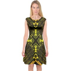 Abstract Glow Kaleidoscopic Light Capsleeve Midi Dress