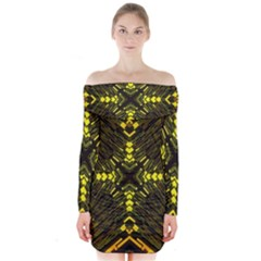 Abstract Glow Kaleidoscopic Light Long Sleeve Off Shoulder Dress