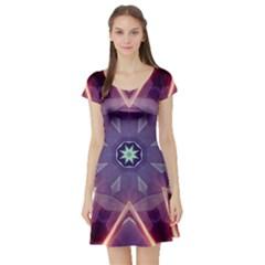 Abstract Glow Kaleidoscopic Light Short Sleeve Skater Dress