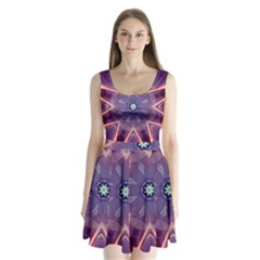 Abstract Glow Kaleidoscopic Light Split Back Mini Dress
