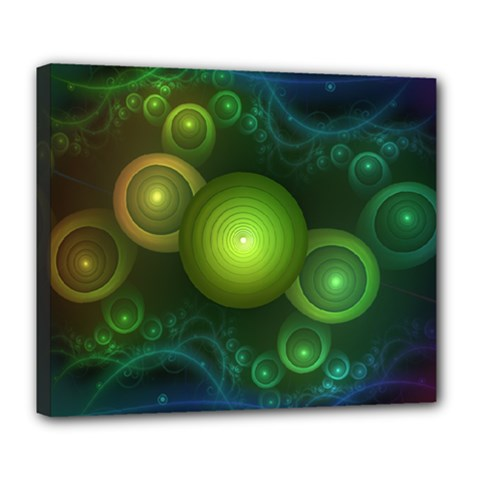 Retrotacular Rainbow Dots in a Fractal Microscope Deluxe Canvas 24  x 20