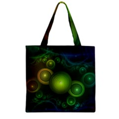 Retrotacular Rainbow Dots in a Fractal Microscope Zipper Grocery Tote Bag