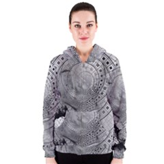 Fragmented Fractal Memories and Gunpowder Glass Women s Zipper Hoodie