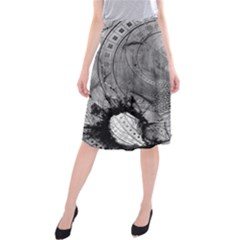 Fragmented Fractal Memories and Gunpowder Glass Midi Beach Skirt