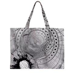 Fragmented Fractal Memories and Gunpowder Glass Zipper Large Tote Bag