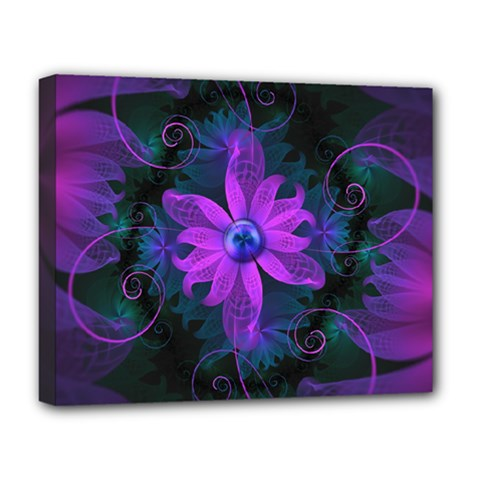 Beautiful Ultraviolet Lilac Orchid Fractal Flowers Deluxe Canvas 20  x 16