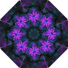 Beautiful Ultraviolet Lilac Orchid Fractal Flowers Hook Handle Umbrellas (Small)