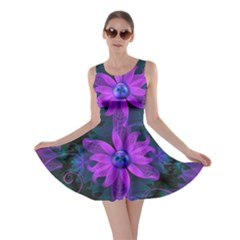 Beautiful Ultraviolet Lilac Orchid Fractal Flowers Skater Dress