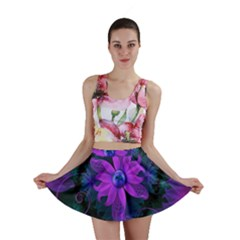 Beautiful Ultraviolet Lilac Orchid Fractal Flowers Mini Skirt