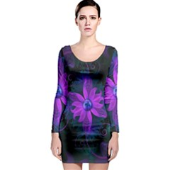 Beautiful Ultraviolet Lilac Orchid Fractal Flowers Long Sleeve Bodycon Dress