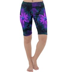 Beautiful Ultraviolet Lilac Orchid Fractal Flowers Cropped Leggings