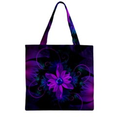 Beautiful Ultraviolet Lilac Orchid Fractal Flowers Zipper Grocery Tote Bag