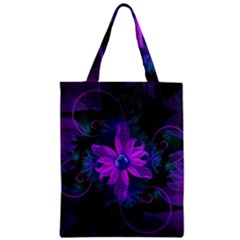 Beautiful Ultraviolet Lilac Orchid Fractal Flowers Zipper Classic Tote Bag