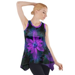 Beautiful Ultraviolet Lilac Orchid Fractal Flowers Side Drop Tank Tunic
