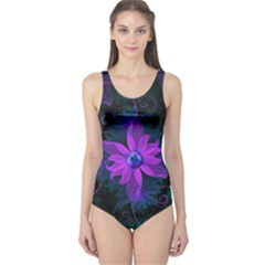 Beautiful Ultraviolet Lilac Orchid Fractal Flowers One Piece Swimsuit