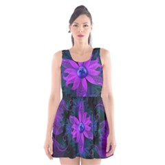 Beautiful Ultraviolet Lilac Orchid Fractal Flowers Scoop Neck Skater Dress