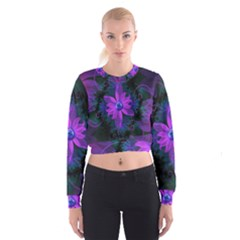 Beautiful Ultraviolet Lilac Orchid Fractal Flowers Cropped Sweatshirt