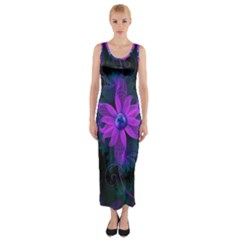 Beautiful Ultraviolet Lilac Orchid Fractal Flowers Fitted Maxi Dress