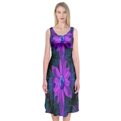 Beautiful Ultraviolet Lilac Orchid Fractal Flowers Midi Sleeveless Dress