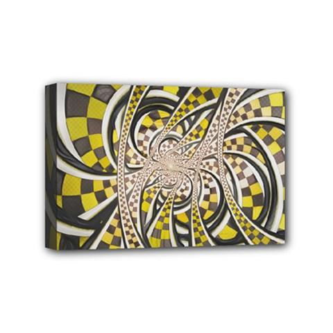 Liquid Taxi Cab, a Yellow Checkered Retro Fractal Mini Canvas 6  x 4