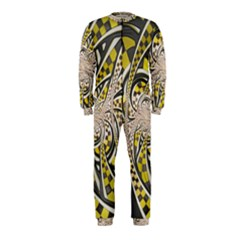 Liquid Taxi Cab, a Yellow Checkered Retro Fractal OnePiece Jumpsuit (Kids)