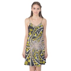 Liquid Taxi Cab, a Yellow Checkered Retro Fractal Camis Nightgown