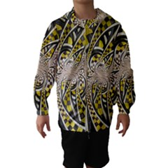 Liquid Taxi Cab, a Yellow Checkered Retro Fractal Hooded Wind Breaker (Kids)