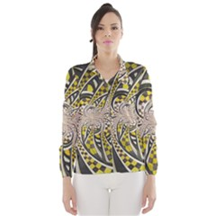 Liquid Taxi Cab, a Yellow Checkered Retro Fractal Wind Breaker (Women)