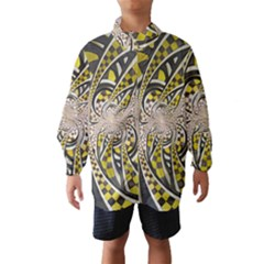 Liquid Taxi Cab, a Yellow Checkered Retro Fractal Wind Breaker (Kids)