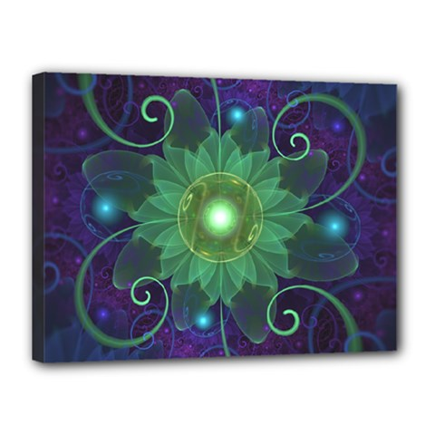 Glowing Blue-Green Fractal Lotus Lily Pad Pond Canvas 16  x 12