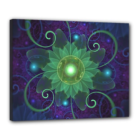 Glowing Blue-Green Fractal Lotus Lily Pad Pond Canvas 20  x 16
