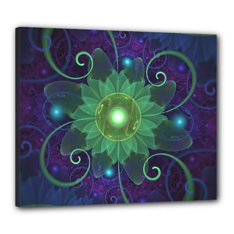 Glowing Blue-Green Fractal Lotus Lily Pad Pond Canvas 24  x 20