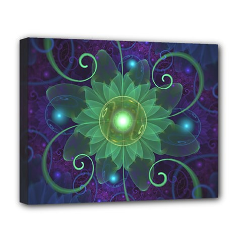 Glowing Blue-Green Fractal Lotus Lily Pad Pond Deluxe Canvas 20  x 16