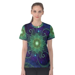 Glowing Blue-Green Fractal Lotus Lily Pad Pond Women s Cotton Tee